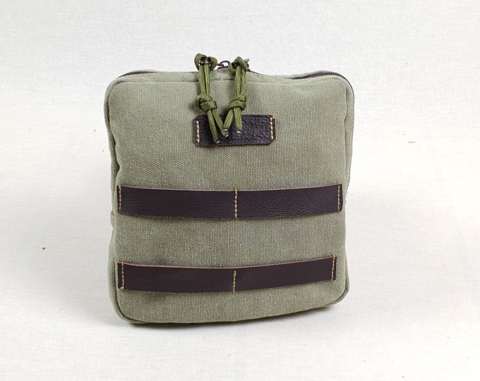 EDC Bag, Organization Pouch, Med kit, Possibles Pouch, 14 oz Canvas & leather Bumbag