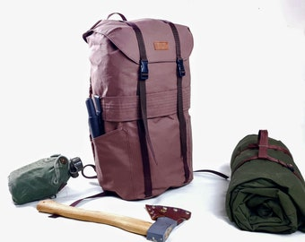 Canvas Backpack 23l . Brown Canvas Day Pack.