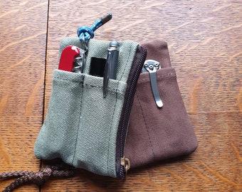 Minimal wallet, EDC organizer, Canvas pocket Organizer