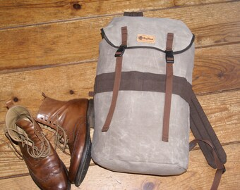 Bushcraft backpack, Day Pack, Cotton Canvas Rucksack 20l