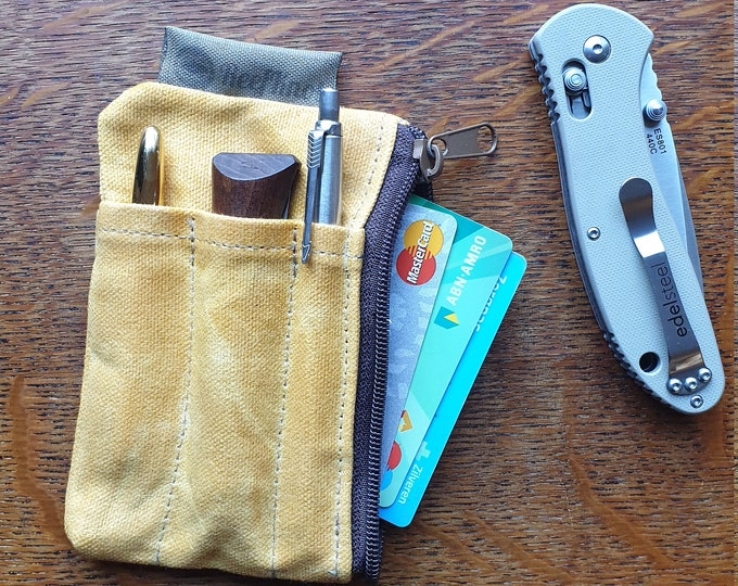 Every day carry organizer , Waxed canvas wallet, gift for men and women