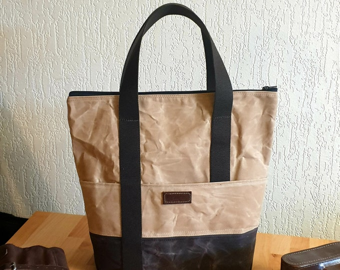 One Off Waxed Canvas Tote Bag, Shopping bag, Cotton canvas bag