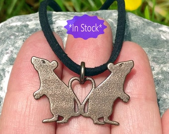 RTS, 3d printed rat necklace, bronze steel, love heart pet memorial pendant