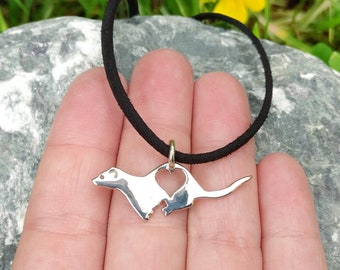 Small ferret pendant necklace with heart design, cast silver, ready to ship