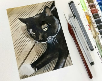 Cat painting, custom pet portrait, pet memorial, cat art, cat lover, cat watercolour, pet portrait