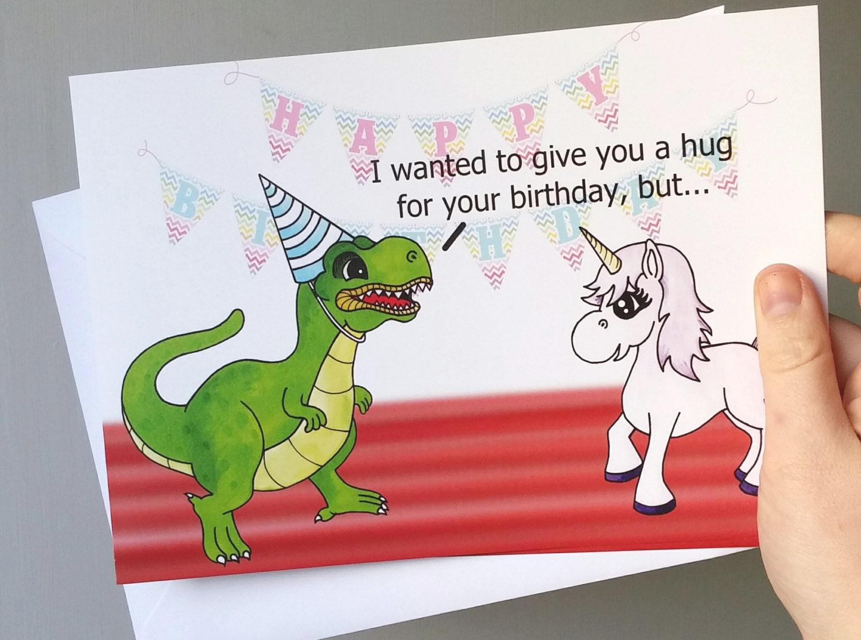 Trex Card Unicorn Birthday Fantasy Cartoon T Rex
