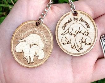 Wooden ferret keychain, laser engraved keyring, ferret momma gift