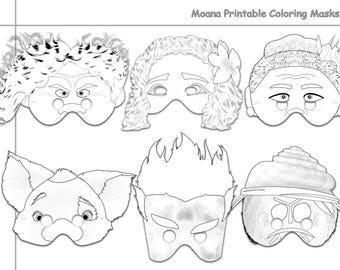 Moana Printable Coloring Masks Mask Party Paper Costume Props Disney Maui Tala Kakamora