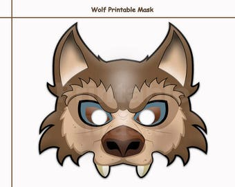 photograph relating to Printable Wolf Mask Template for Kids referred to as Printable wolf mask Etsy