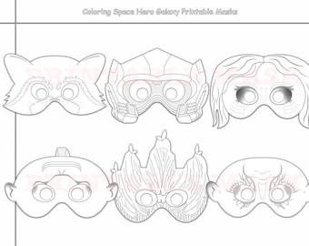Space Hero Galaxy Printable Coloring Masks Photo Props Mask Color Raccoon Kids Costume Birthday