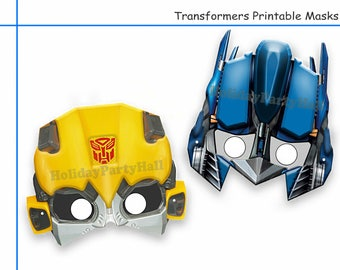 Unique 2 Transformers Printable Masksparty Decorationkids Dress Up Maskphoto Booth Propsrescue Botsboys Costumerobot