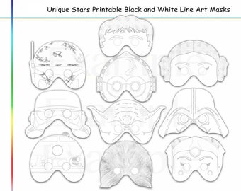 Coloring Pages Stars Party Printable Black And White Line Art Masks Kids Costume Color Mask Character Wars Heroes Props Star