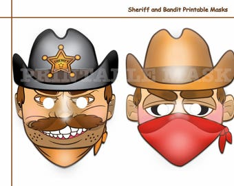 Unique Bandit Or Sheriff Printable Masksparty Maskpretend Cowboy Dress Upwestern Birthdaykids Maskwestern Rodeo Photo Props Wild West