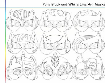 Coloring Pages Pony Party Printable Black And White Line Art Masks Kids Costume Birthday Mask My Little Horses Photo Props