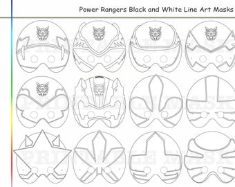 Coloring Pages Rangers Party Printable Black And White Line Art Mask Kid Costume Color Diy Paper Samurai Heroes Props Mega Force