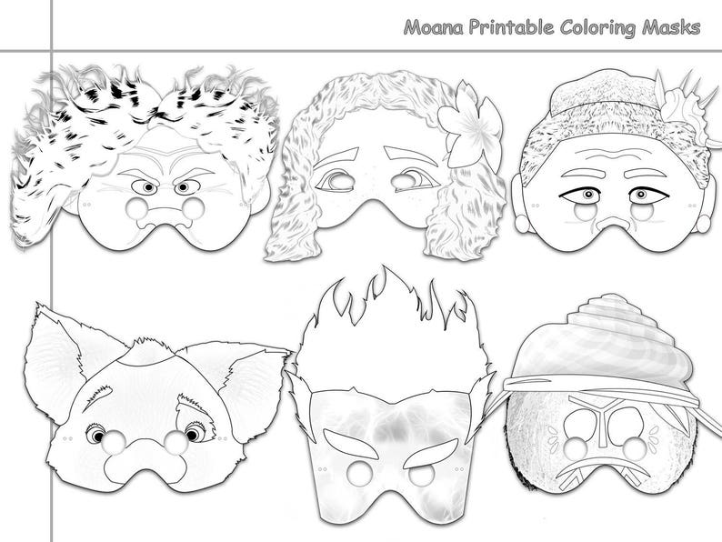 graphic about Moana Printable Coloring Pages named Moana Printable Coloring Masks, Moana mask, get together masks, Moana coloring, paper mask, Moana gown, props, Disney, Maui, Tala, Kakamora