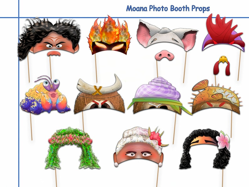 image relating to Moana Printable titled Moana Printable Picture Booth Props Choice+Cost-free Portion PRINTABLE, birthday concept, prop, gown up, Moana social gathering decor