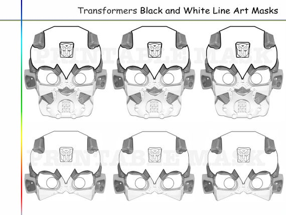 Coloring Pages Transformers Party Printable Black And White Etsy