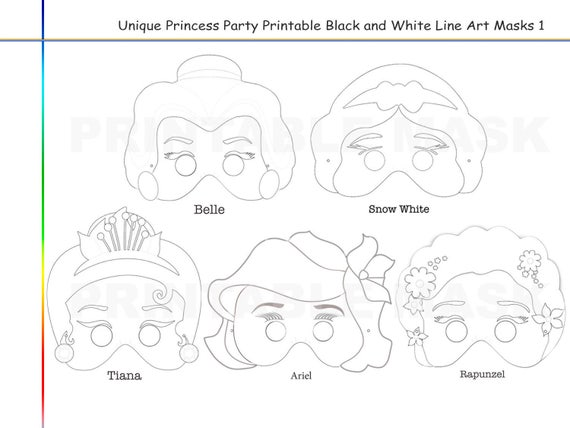 Coloring Pages Princess Party Printable Black and White Line Art Masks,  Bell, Snow White, Tiana, Ariel, Rapunzel, kids dress up mask, props