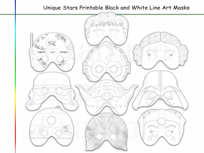 picture regarding Printable Star Wars Mask called Coloring Web pages Celebs Celebration Printable Black and White Line Artwork Masks, youngsters gown, coloration mask, personality masks, wars heroes, props, star