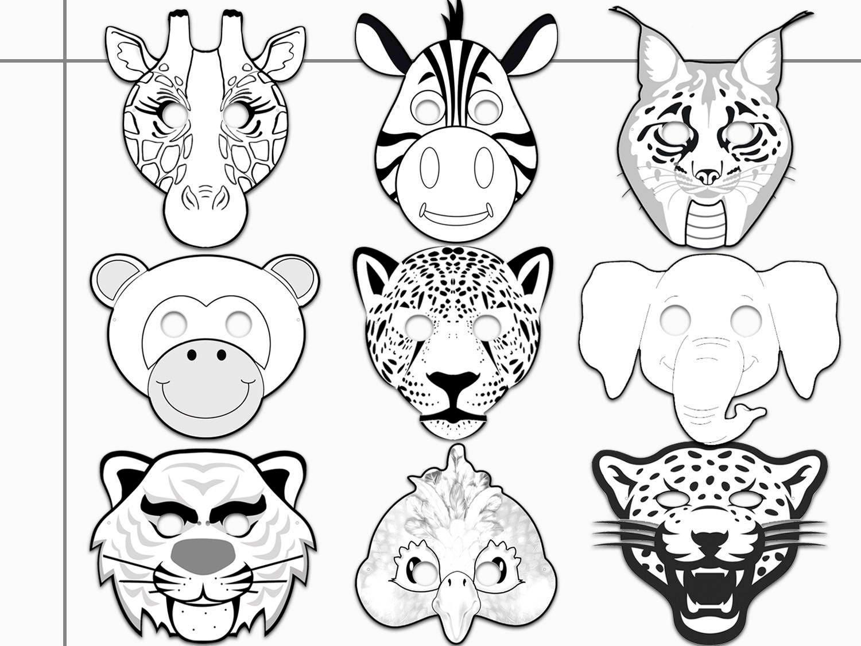 Jungle Animals Printable Coloring Masks jaguar tiger | Etsy