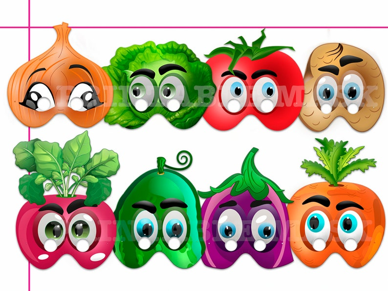 photo relating to Printable Vegetables referred to as One of a kind Veggies Printable Masks, costumes, paper masks, Greens occasion, image booth props, birthday, occasion favors, little ones gown up participate in