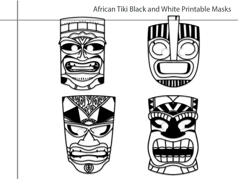 photo about Tiki Mask Printable titled Coloring Internet pages African Tiki Printable Black and White Line Artwork Mask, young children gown, African social gathering, props, birthday, Tiki mask, African Mask