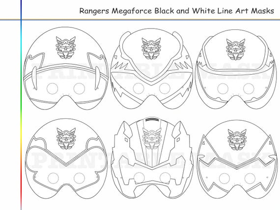 Coloring Pages Rangers 6 Megaforce Party Printable Black and White Line Art  Masks, kids costume, color mask, Power Rangers, Megaforce props