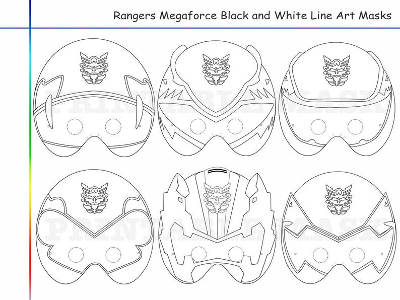 photograph about Power Ranger Mask Printable identified as Coloring Internet pages Rangers 6 Megaforce Occasion Printable Black and White Line Artwork Masks, young children gown, shade mask, Ability Rangers, Megaforce props