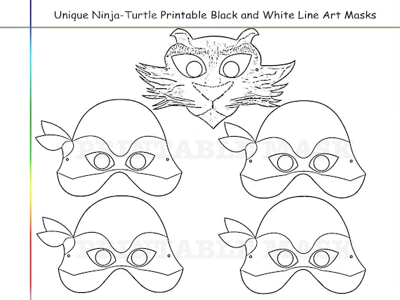 It's just an image of Ninja Turtle Printable Mask regarding outline