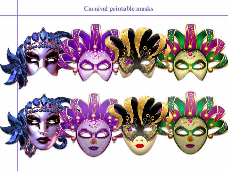 party kids booth props birthday shimmer Unique Carnival Printable Masks Diy paper glitter Venetian Carnival in Brazil masquerade