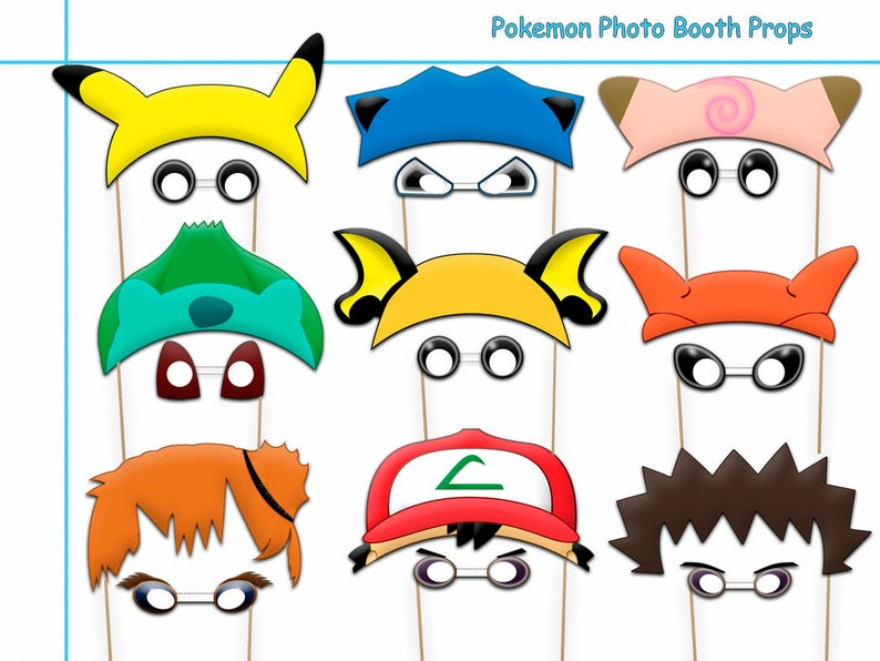 picture about Halloween Photo Booth Props Printable Free named Pokemon Printable Image Booth Props Variety+Totally free Materials, birthday strategy, prop, costume up, pokemon get together decor