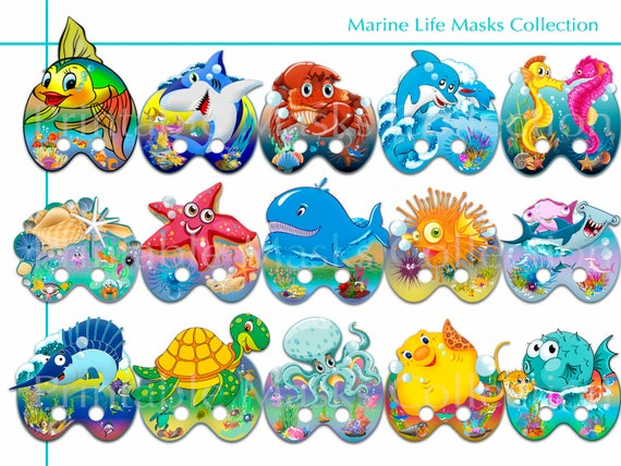 Marine Life party decor birthday idea dress up Marine Printable Life Photo Booth Props Collection Set