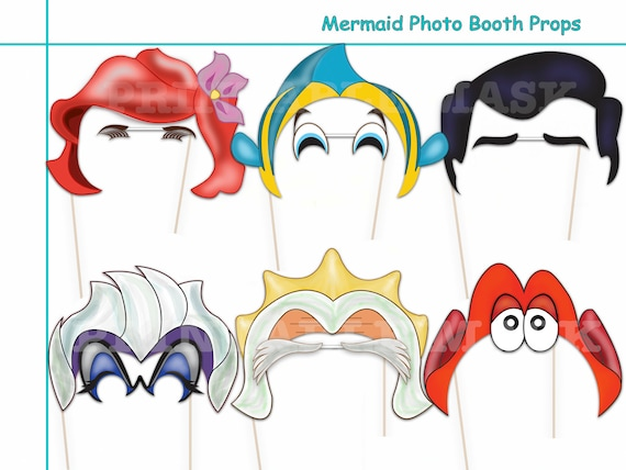 mermaid party photo booth props set 12 piece printable etsy