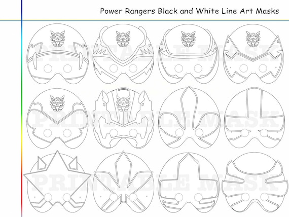 Coloring Pages Rangers Party Printable Black and White Line Art Mask, kid costume, color mask, Diy paper, Samurai heroes, props, mega, force