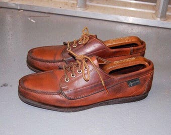 Eastland Brown Leather Boat Shoes / Moccasins UK 9 Heritage Made in USA Workwear Shoes Country Classic Quoddy Yuketan Maine Leather Country