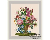Antique Vase with Flowers 1 Cross Stitch Pattern PDF Vintage Roses Berlin Woolwork Antique Needlepoint Tapestry chart Victorian Flowers