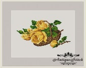 Vintage Basket Roses 2 Cross Stitch Pattern PDF Berlin Woolwork Pattern Petit Point Antique Needlepoint Victorian Roses Flowers Miniature