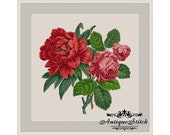 Peony and Rose Vintage Bouquet 11 Cross Stitch Pattern PDF Berlin woolwork chart Antique Needlepoint Tapestry Victorian Flowers
