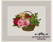 Vintage Basket Roses 1 Cross Stitch Pattern PDF Berlin Woolwork Pattern Petit Point Antique Needlepoint Victorian Roses Flowers Miniature
