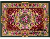 Vintage Carpet 18 Cross Stitch Pattern PDF Antique Dollhouse Miniature Rug Berlin woolwork pattern Tapestry Needlepoint