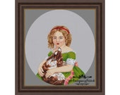 Antique Needlepoint Tapestry Girl and King Charles spaniel Berlin woolwork pattern PDF Vintage Art cross stitch Dog Portrait