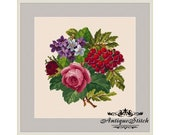 Vintage Bouquet 100 Flowers Cross Stitch Pattern PDF Berlin Woolwork Pattern Antique Needlepoint Tapestry chart Victorian Flowers