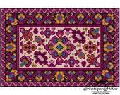 Vintage Carpet 12 Cross Stitch Pattern PDF Antique Dollhouse Miniature Rug