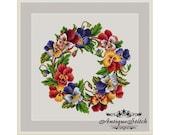 Pansy Wreath Cross Stitch Pattern PDF Berlin Woolwork Pattern Vintage Needlepoint chart Victorian Flowers