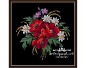 Poppies Vintage Bouquet 125 Cross Stitch Pattern PDF Flowers Berlin Woolwork Pattern Vintage Needlepoint chart Victorian Flowers Lilies