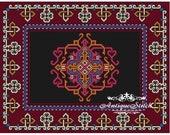 Vintage Carpet 26 Cross Stitch Pattern PDF Antique Dollhouse Miniature Rug Berlin woolwork pattern Tapestry Needlepoint