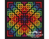 Rainbow Mandala 3 Cross Stitch Pattern PDF Geometric Abstraction Modern cross stitch Pillow Antique Pattern Ornament Cross Stitch