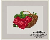 Vintage Basket Roses 3 Cross Stitch Pattern PDF Berlin Woolwork Pattern Petit Point Antique Needlepoint Victorian Roses Flowers Miniature
