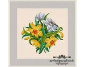 Vintage Daffodils Bouquet Cross Stitch Pattern PDF Flowers Berlin Woolwork Antique Needlepoint chart Petit point Victorian Flowers